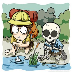 Man drinking water from river with skeleton kneeling beside him